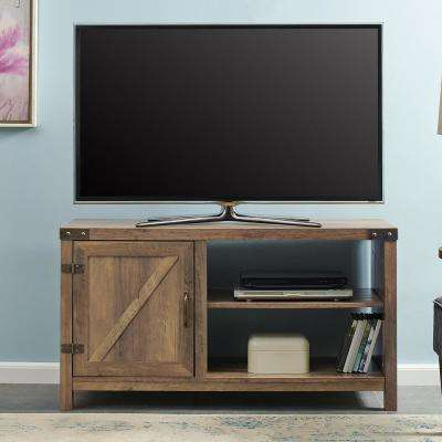 44 in. Rustic Oak Farmhouse Barn Door TV Stand Storage Console with Shelving