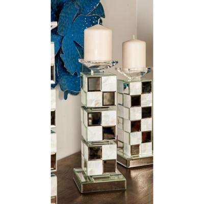 15 in. Mirrored Wood and Glass Square Tower Candle Holder