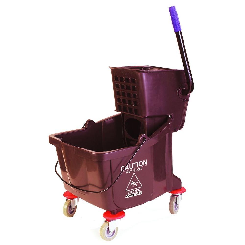 Flo-Pak CFS3690469 35 Quart Bucket, Side Press Wringer, Polyethylene, Brown