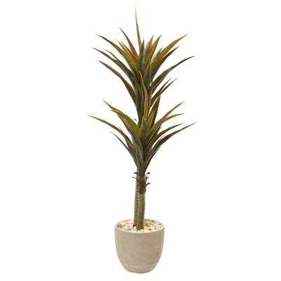 5 ft. Yucca Artificial Tree in Sandstone Planter