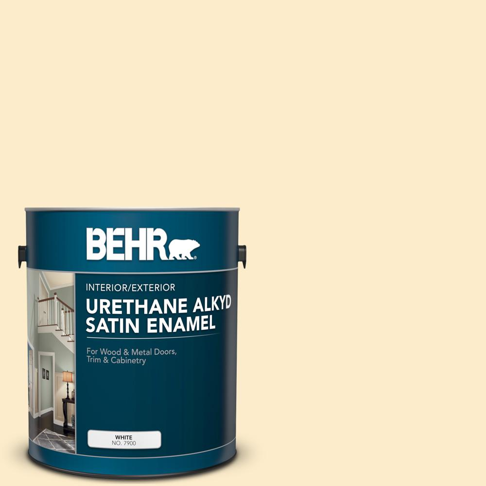 Behr 1 Gal 320a 2 Provence Creme Urethane Alkyd Satin Enamel Interior Exterior Paint 790001 The Home Depot