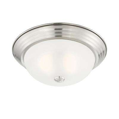 Decorative 13 in. 2-Light Satin Platinum Interior Flushmount with Etched Glass Shade