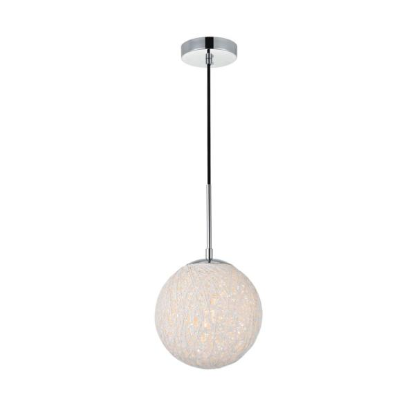 Timeless Home Malaki 1-Light Pendant in Chrome and White with 7.9 in. W x 7.9 in. H Shade