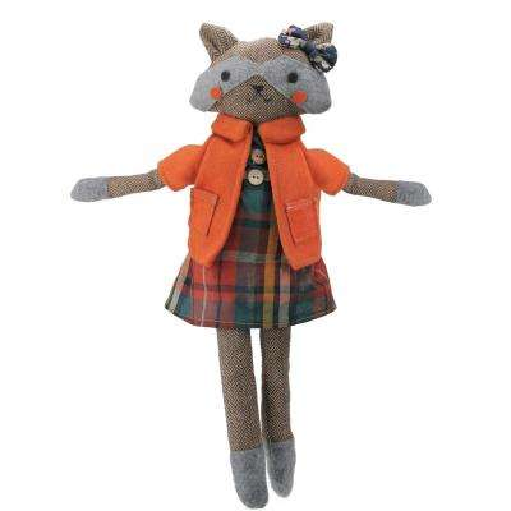 17 in. Brown and Orange Sitting Girl Herringbone Design Fox Plush