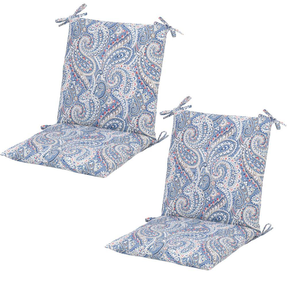 Hampton Bay Nessa Paisley Midback Outdoor Dining Chair Cushion (2 Pack)