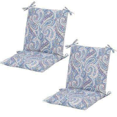 Nessa Paisley Midback Outdoor Dining Chair Cushion (2 Pack)