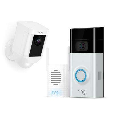 Wireless Video Doorbell 2 with Chime Pro and Spotlight Cam Battery White