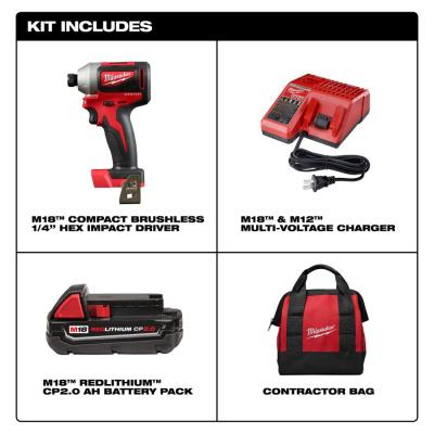 M18 18-Volt Lithium-Ion Compact Brushless Cordless 1/4 in. Impact Driver Kit W/ (1) 2.0 Ah Battery, Charger & Tool Bag