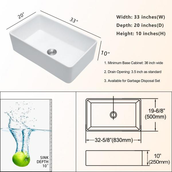Lordear White Fireclay 33 In Single Bowl Farmhouse Apron Kitchen Sink Saw3320r1 The Home Depot