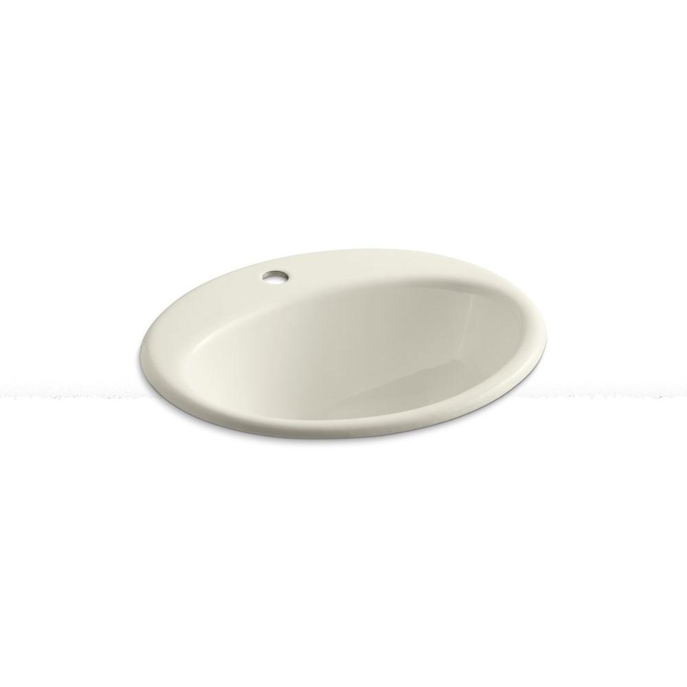 Kohler Devonshire Drop In Vitreous China Bathroom Sink In Biscuit With Overflow Drain K 2279 8