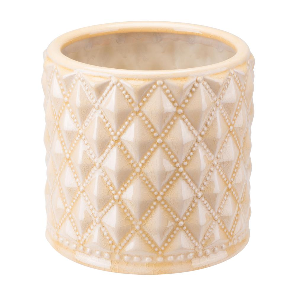 ZUO Tufted 8.1 in. W x 7.8 in. H Cream Ceramic Planter