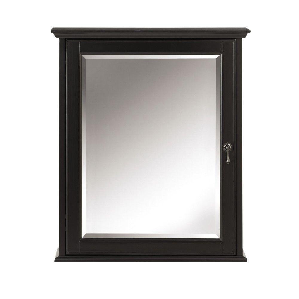 Newport 24 in. W x 28 in. H Framed Bathroom Medicine Cabinet in Black