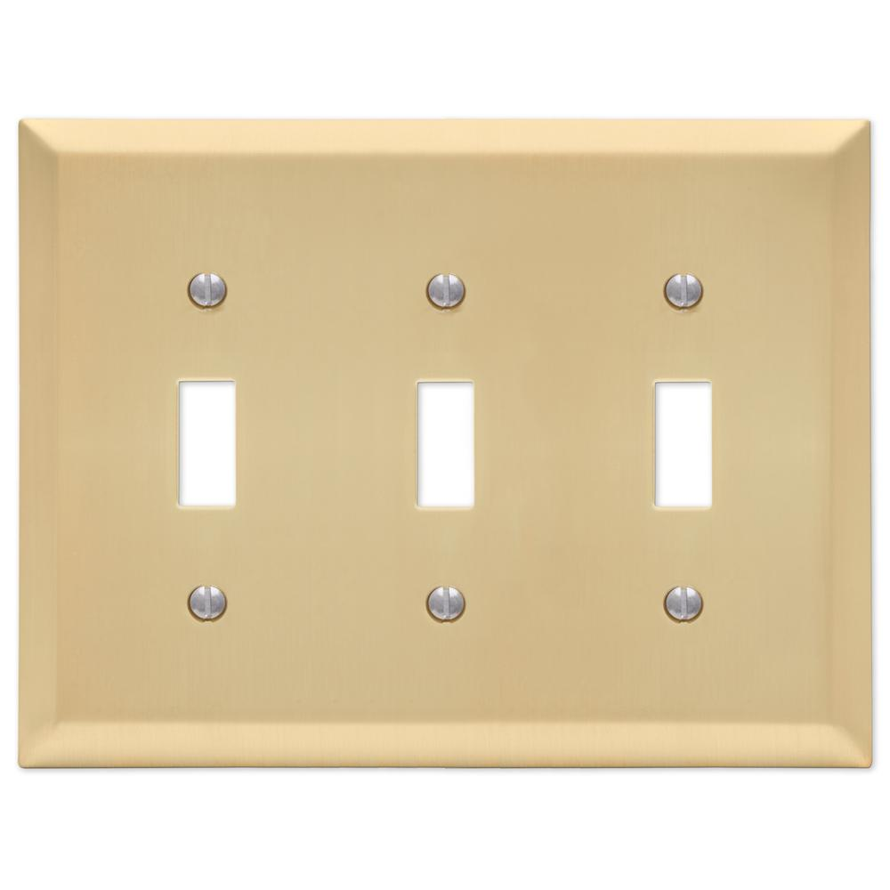 Amerelle Century 3 Toggle Wall Plate Satin Brass 163tttsb The