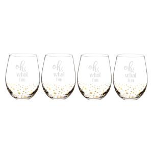 Oh What Fun 2.9 inch x 4.7 inch Gold Dot Stemless Wine Glasses by