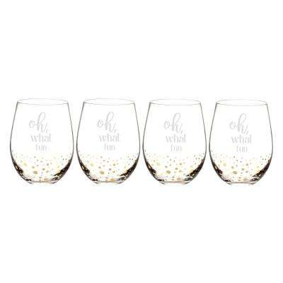 Oh What Fun 2.9 in. x 4.7 in. Gold Dot Stemless Wine Glasses