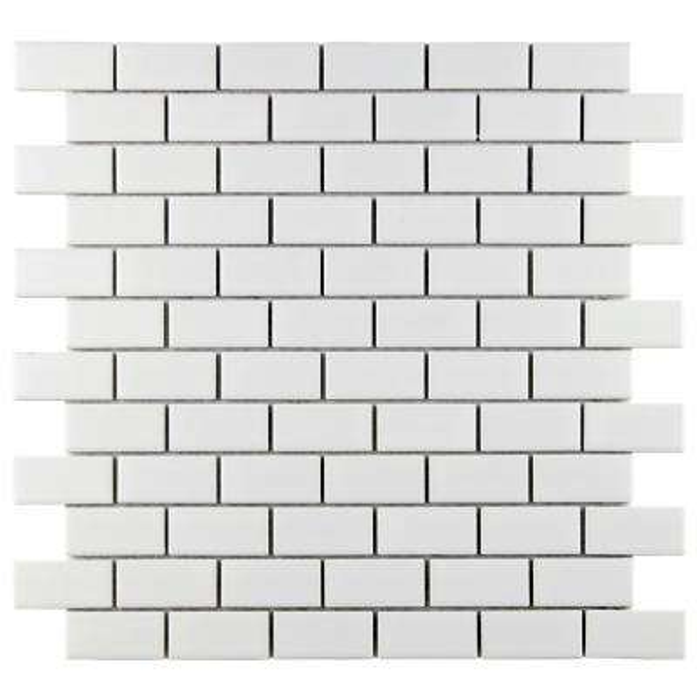Metro Subway Matte White 11-3/4 in. x 11-3/4 in. x 5 mm Porcelain Mosaic Tile (9.6 sq. ft. / case)
