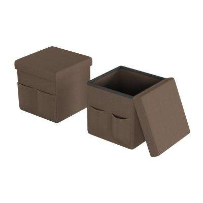 Brown Foldable Storage Cube Ottoman with Pockets (Set of 2)