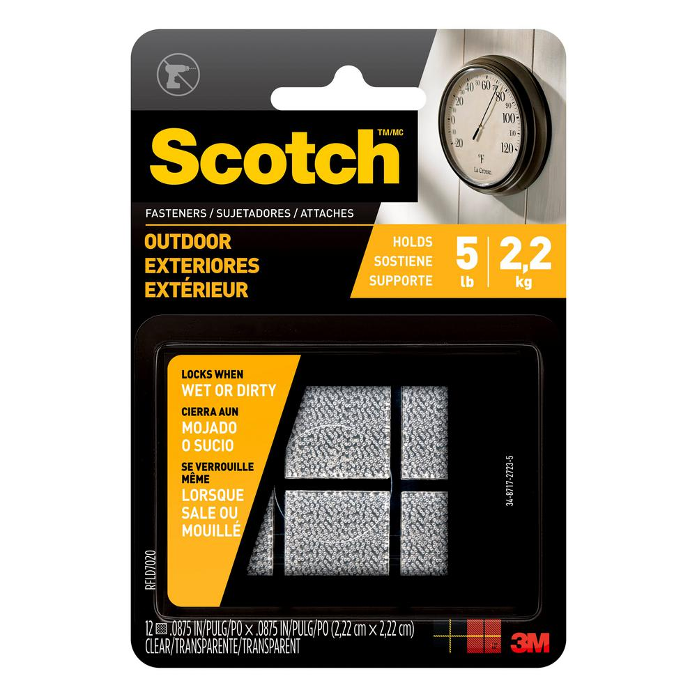 Scotch 7/8 in. x 7/8 in. Clear Outdoor Fasteners (6 Sets-Pack)