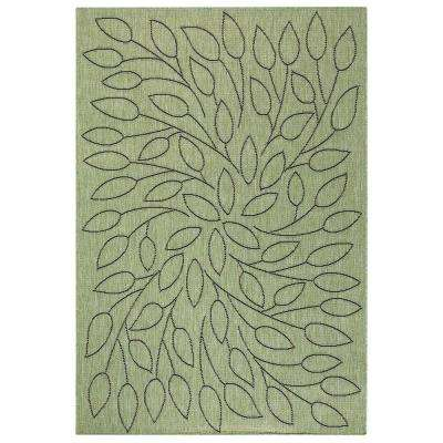 Persimmon Green/Black 5 ft. 3 in. x 7 ft. 6 in. Area Rug