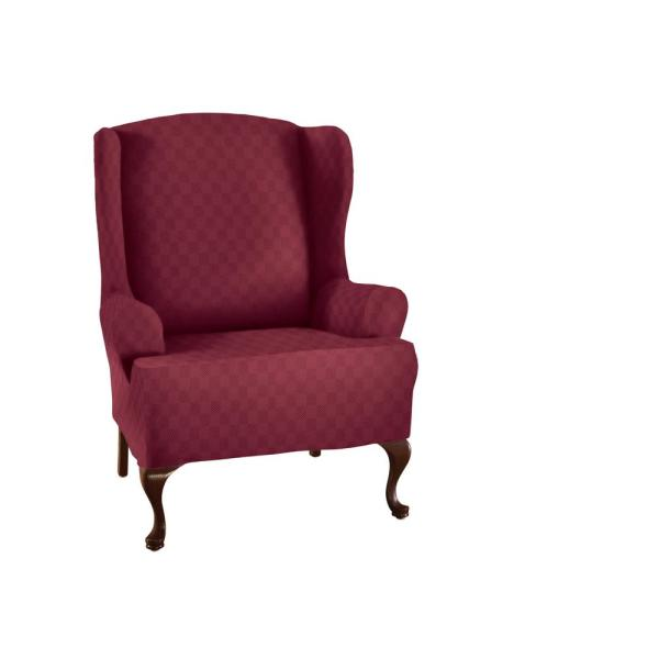 Stretch Sensations Brick Newport Wing Chair Stretch Slipcover NEWWCHAIBRICK