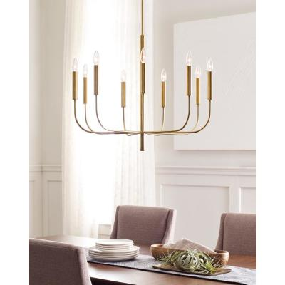ED Ellen DeGeneres Crafted by Generation Lighting Brianna 30 in. W 9-Light Burnished Brass Chandelier with Swivel Canopy