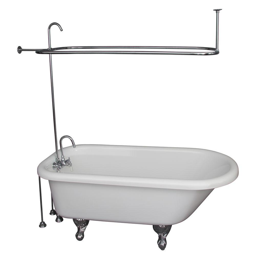Barclay Products 5 ft. Acrylic Ball and Claw Feet Roll Top Tub in White with Polished Chrome Accessories