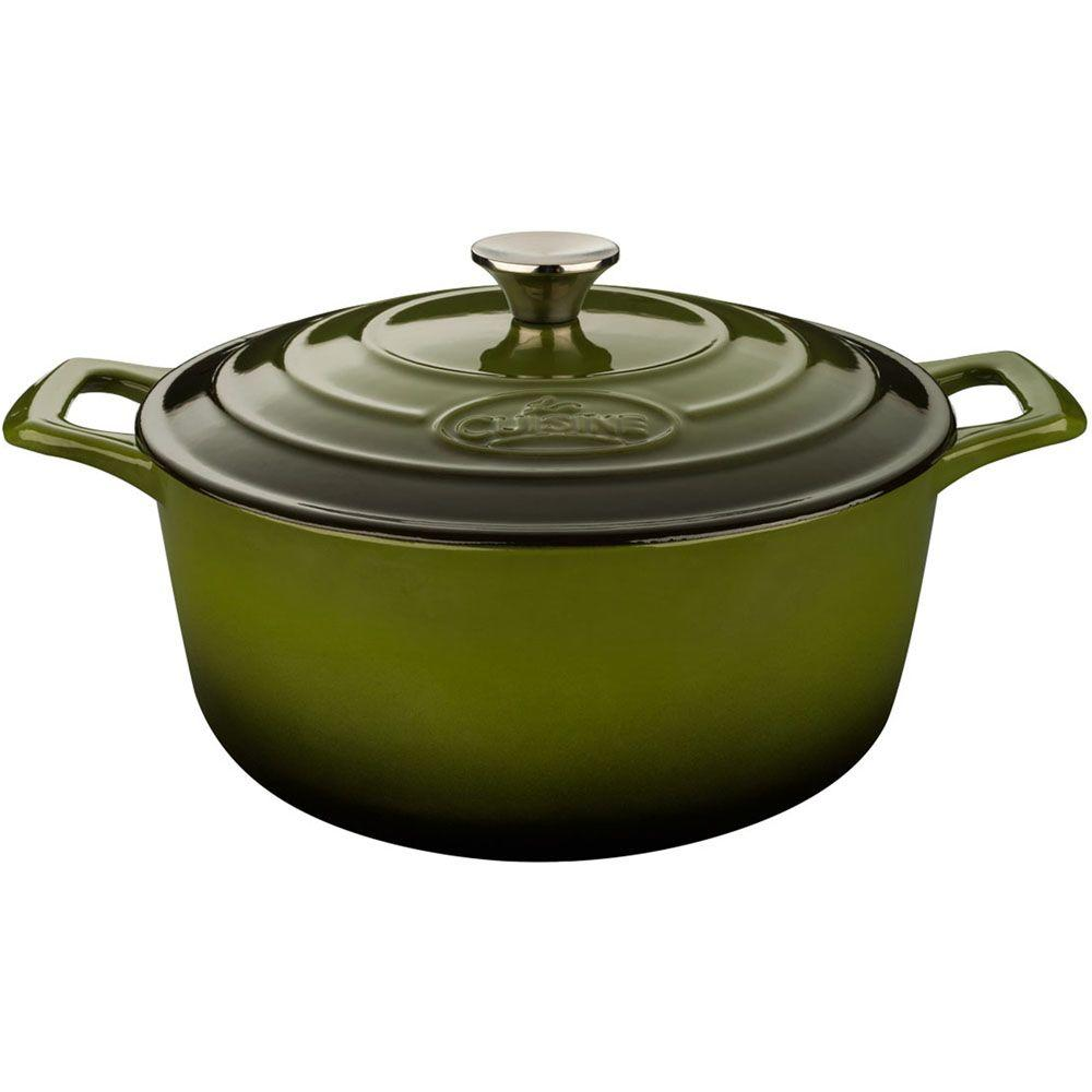 3.7 Qt. Cast Iron Round Casserole with Green Enamel