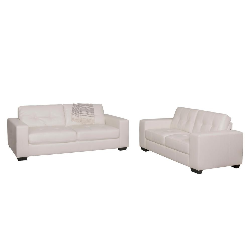 Corliving Tufted White Bonded Leather Sofa Set