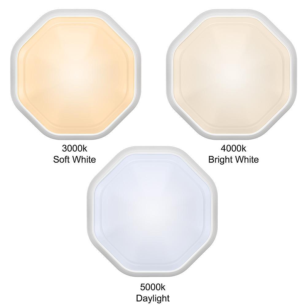 11 in. 1-Light White Octagon Selectable LED Indoor Outdoor Flush Mount Porch Deck Light 830 Lumens 3000K 4000K 5000K
