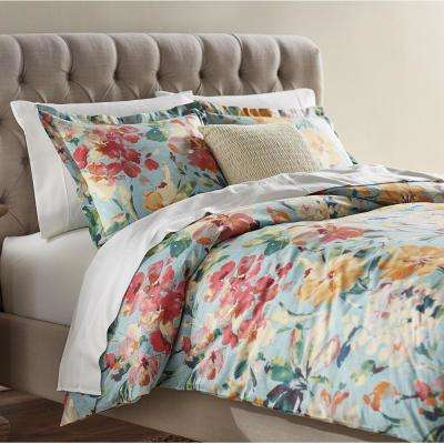 Garden Bloom Blue and Multi Queen Duvet