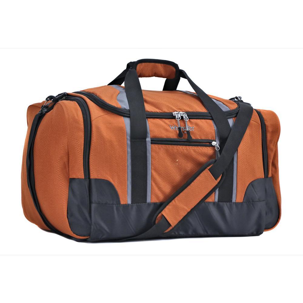Wrangler 28 in. Burnt Orange Multi-Pocket Sport Duffel Bag-WR-95028 ... 0d3ad011dca0
