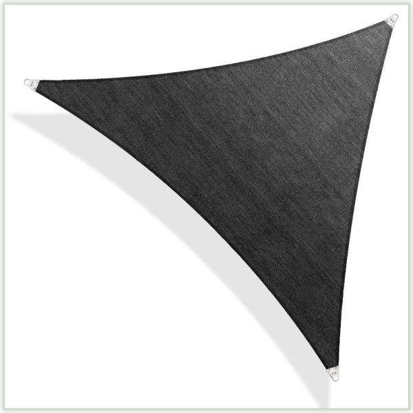 32 ft. x 32 ft. 260 GSM Reinforced (Super Ring) Black Triangle Sun Shade Sail Screen Canopy, Patio and Pergola Cover
