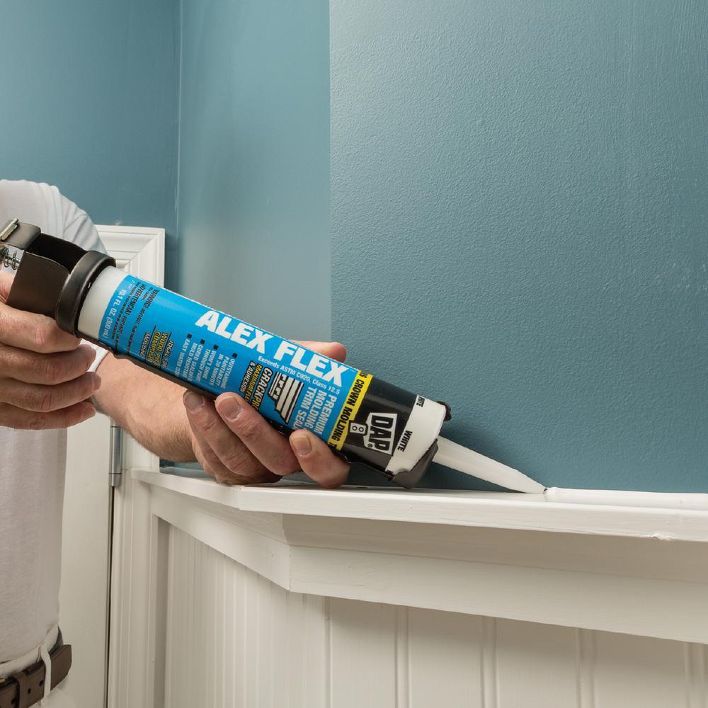 Dap Alex Flex 10 1 Oz White Premium Molding And Trim Sealant 18542 The Home Depot