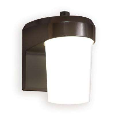 Bronze Outdoor Integrated LED Jelly Jar Entry and Area Light with Dusk to Dawn Photocell Sensor, 3500K Bright White