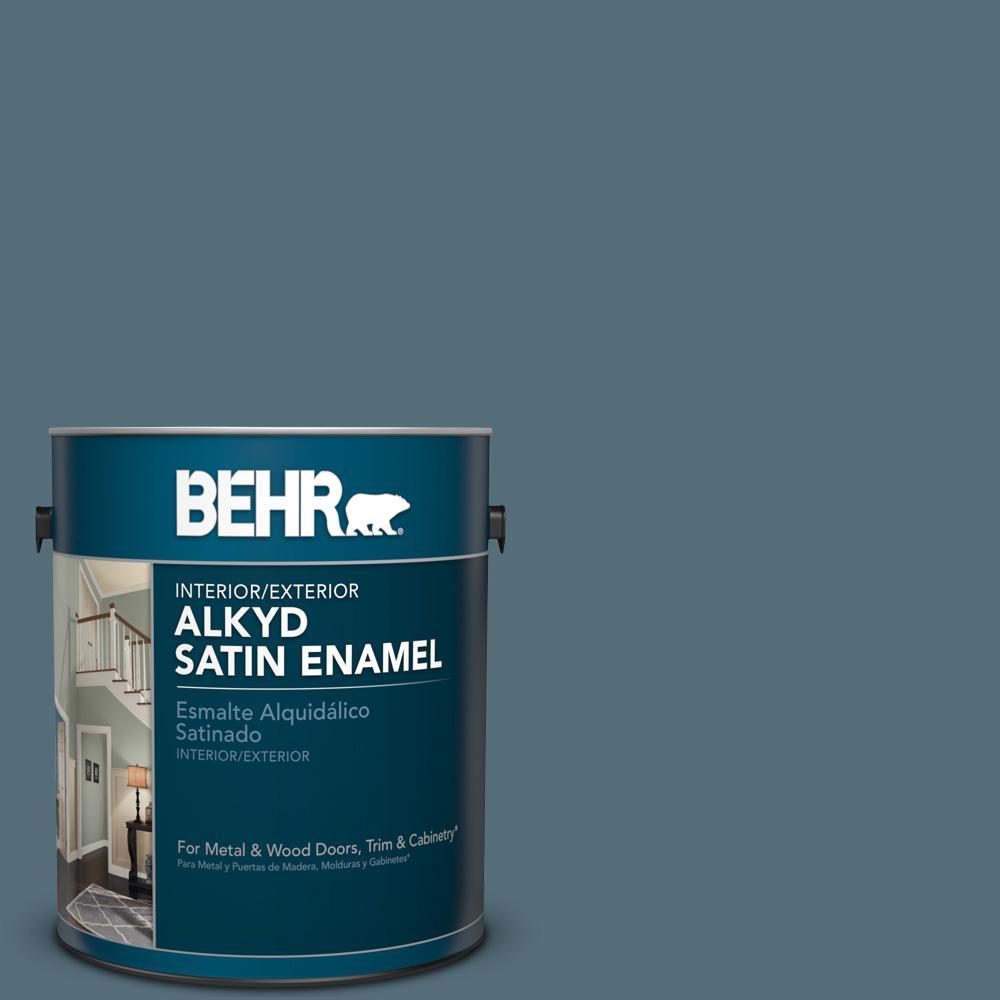 1 gal. #N480-6 NYPD Satin Enamel Alkyd Interior/Exterior Paint