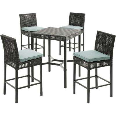 Malta 5-Piece Wicker Outdoor Bar Height Dining Set with 4 Counter-Height Woven Chairs with Blue Cushions