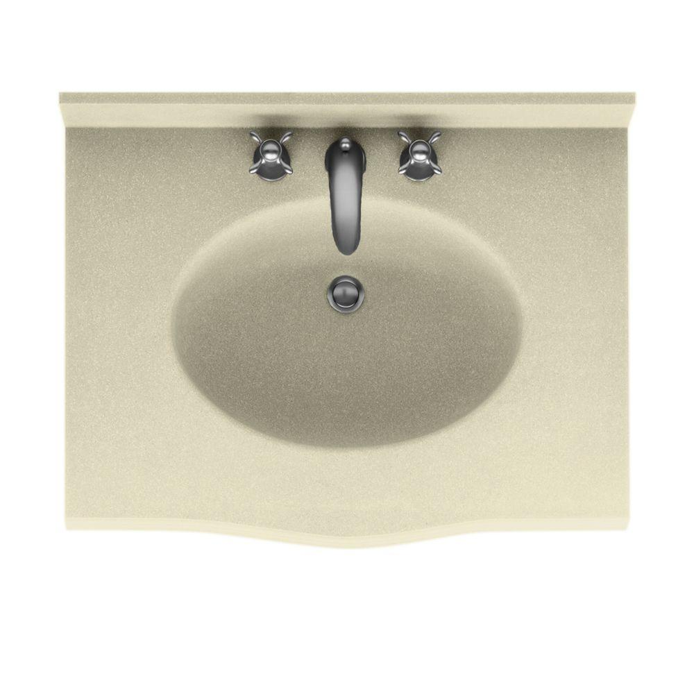 Swanstone Europa 37 in. Solid Surface Vanity Top with Basin in Bone-DISCONTINUED