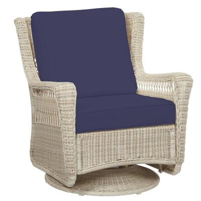 Park Meadows Off-White Wicker Outdoor Patio Swivel Rocking Lounge Chair with CushionGuard Sky Blue Cushions