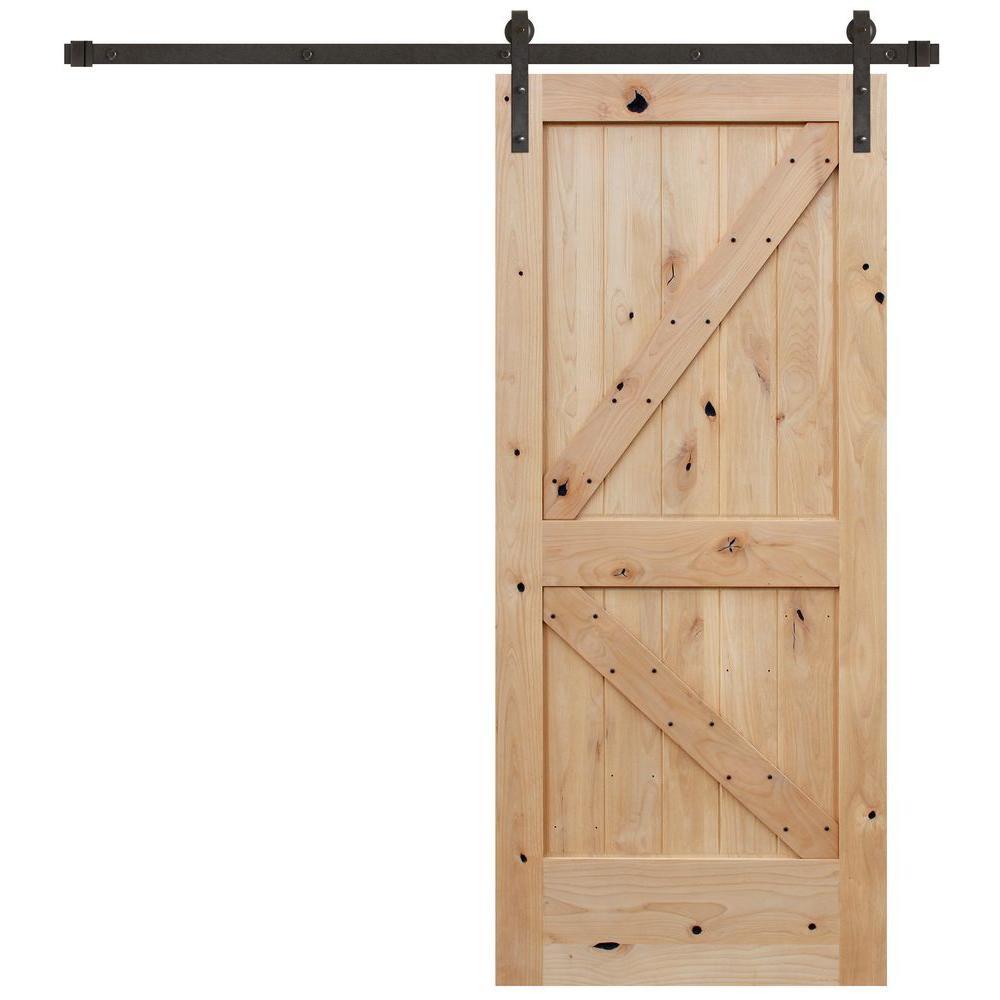 36 in. x 84 in. Rustic Unfinished 2-Panel V-Groove Left Knotty Alder Wood Sliding Barn Door with Bronze Hardware