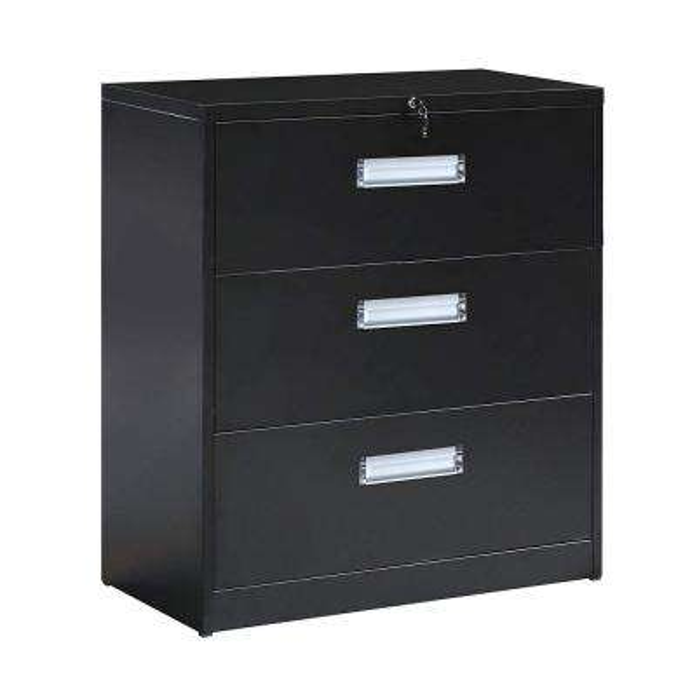 Black Metal Vertical Lockable File Cabinet with 3-Drawer