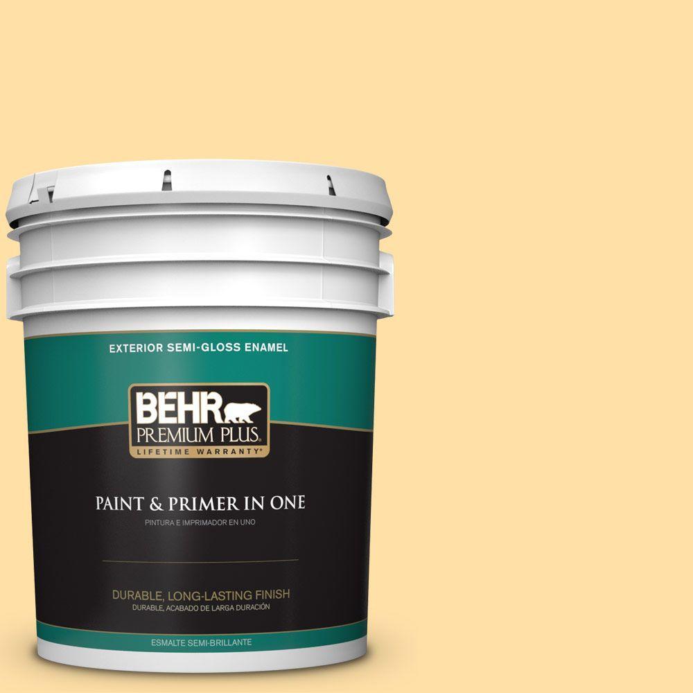 BEHR Premium Plus 5-gal. #310A-3 Manila Tint Semi-Gloss Enamel Exterior Paint