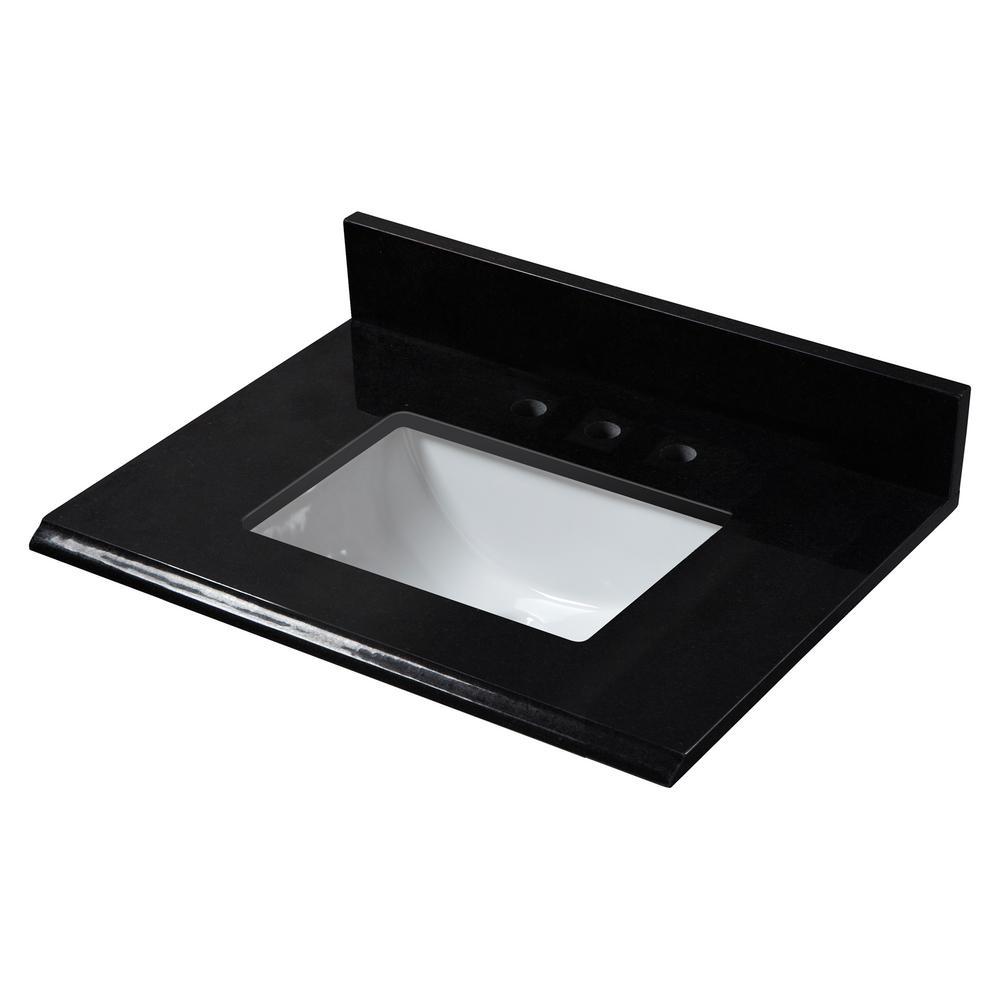 25 in. W x 22 in. D Granite Single Trough Sink Vanity Top in Midnight Black