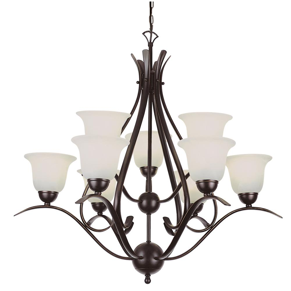 Bel Air Lighting Aspen 9 Light Rubbed Oil Bronze Chandelier With Frosted Shades