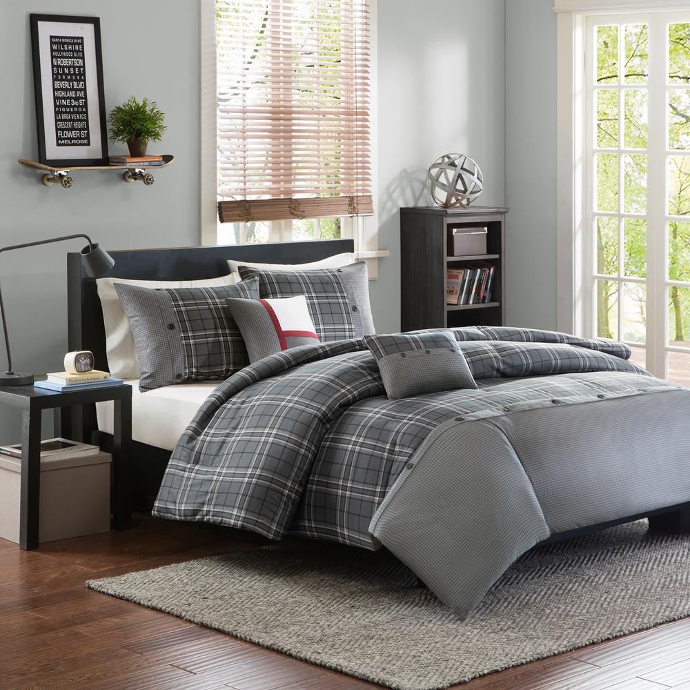 Intelligent Design Campbell 4-Piece Grey Twin/Twin XL Plaid Duvet Cover Set