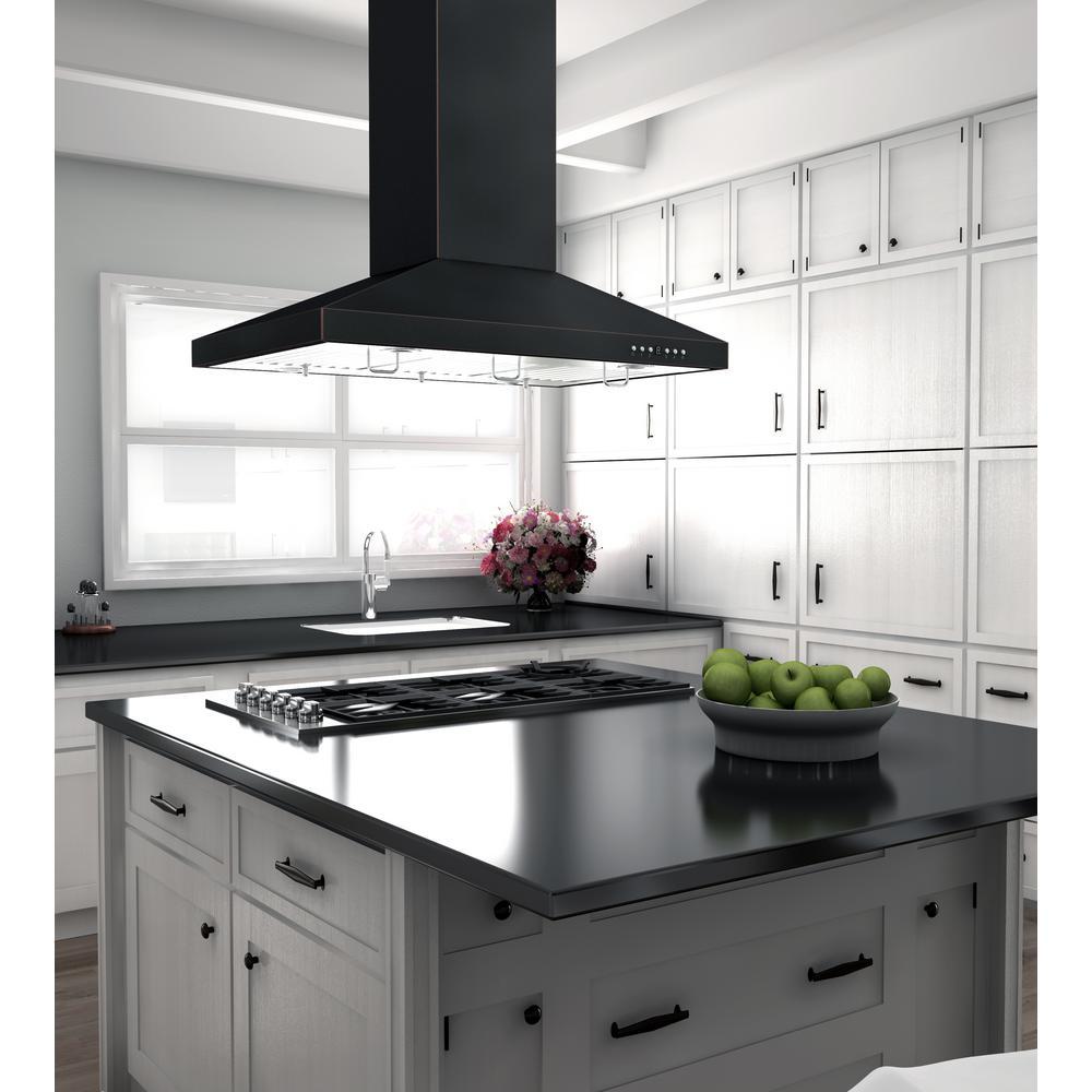 Zline Kitchen And Bath Zline 36 In Designer Series Oil Rubbed Bronze Island Mount Range Hood 8kl3ib 36 8kl3ib 36 The Home Depot