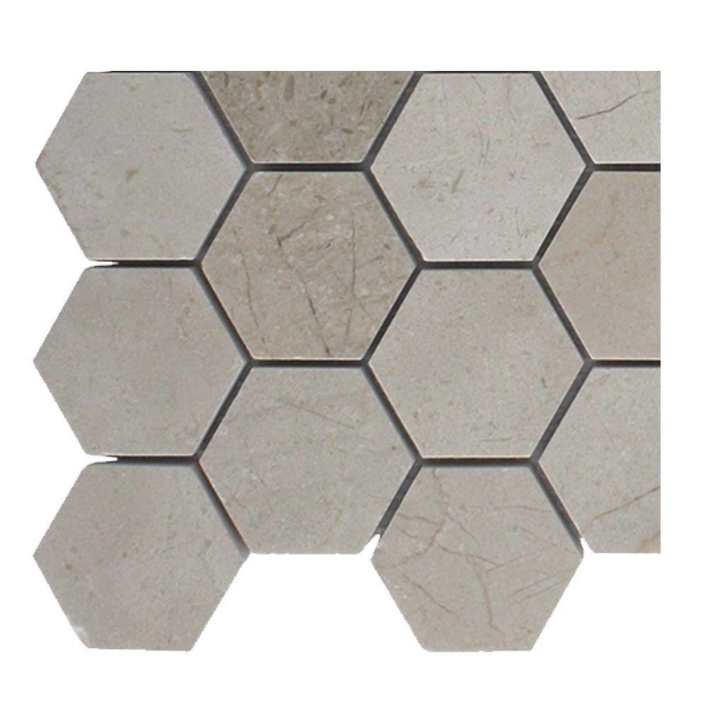 Splashback Tile Crema Marfil Hexagon Polished Marble Mosaic Floor And Wall  Tile   3 In.