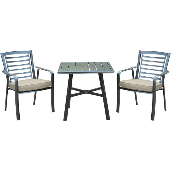 Pemberton 3-Piece Commercial-Grade Aluminum Outdoor Bistro Set with Ash Cushions, 2-Dining Chairs and Slat-Top Table