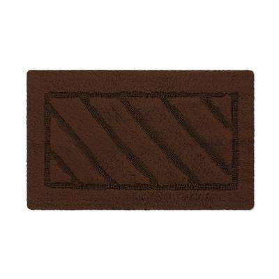 Ruby Collection 20 in. x 31 in. Heavyweight Hand Tufted Cotton Bath Rug Mat in Brown