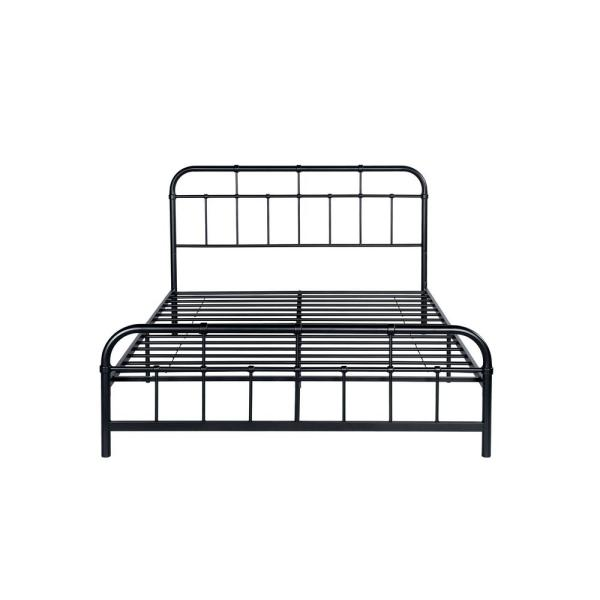 Noble House Berthoud Industrial Queen-Size Flat Black Iron Bed Frame 307460