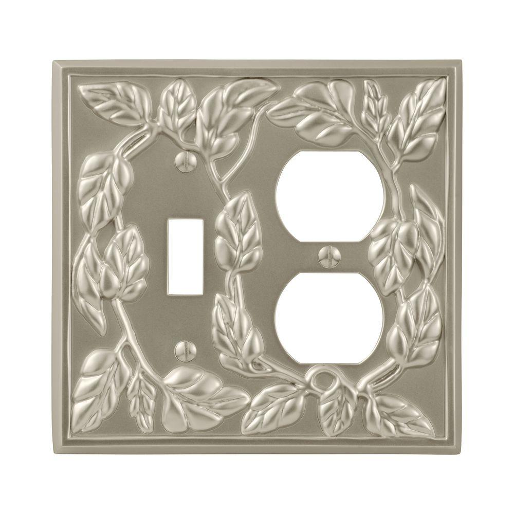 Leaf 1 Toggle 1 Duplex Wall Plate - Satin Nickel